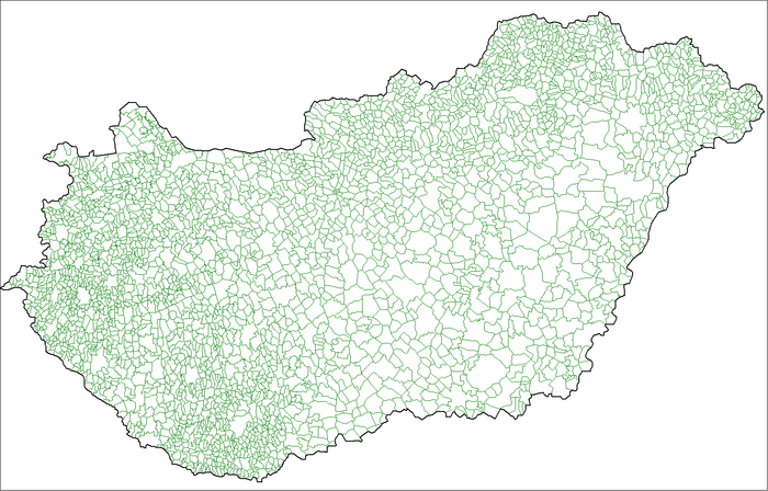 Towns and villages in Hungary Hungary local administration.png