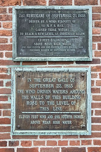 1938 New England hurricane - Water levels of the 1815 and 1938 hurricanes are marked at Old Market House, Providence