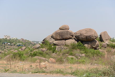 Rock formations at Hyderabad, Telangana Hills of granite boulders are a common feature of the landscape on the Deccan plateau. Hyd Rock Formations1.jpg