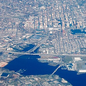 Interstate 395 (Maryland) - Aerial view of Downtown Baltimore that includes the entire lengths of I-395 and Martin Luther King Jr. Boulevard in the center and upper left