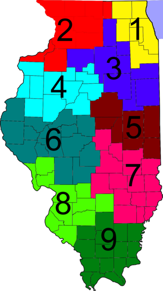 Illinois Department of Transportation - IDOT districts map