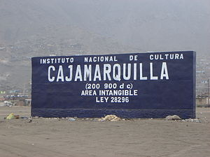 Cajamarquilla - INC (National Institute of Culture) sign at Cajamarquilla archaeological site