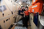ISS-59 Aleksey Ovchinin, Nick Hague and Christina Koch in the Rassvet module.jpg