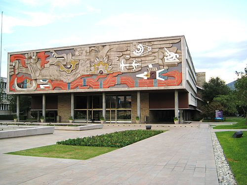 The Old Library Building, current Rectorate, was designed by Enrique de la Mora, displays a bas relief by Jorge Gonzalez Camarena and holds one of the largest collections of Don Quixote incunabula, an original edition of L'Encyclopedie and other bibliographical treasures ITESM Monterrey Rectoria.jpg