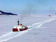 U.S. Coast Guard icebreakers near McMurdo Station, February 2002.
