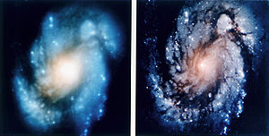 Images of the spiral galaxy Messier_100 demons...