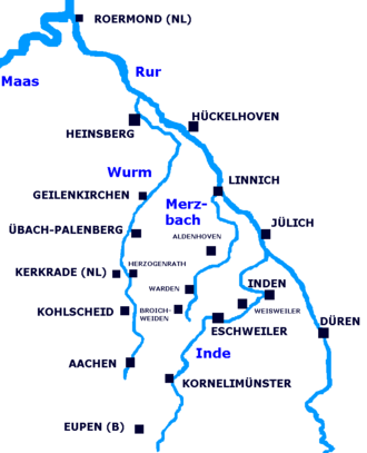 Rur - Map of river Rur/Roer and its tributaries