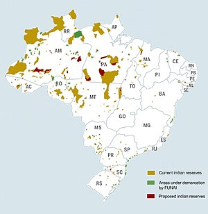 Indian Day (Brazil) - Map of indigenous reserves in Brazil.