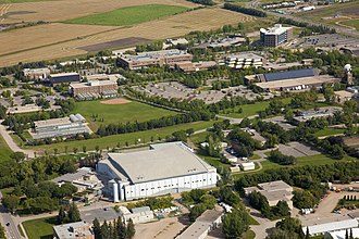 Saskatoon - Innovation Place with the Canadian Light Source synchrotron in the foreground.