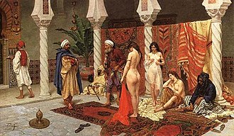 Circassian beauties - Inspection of New Arrivals, a typical Orientalist fantasy painted by Giulio Rosati (1858–1917).
