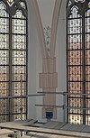 interieur, kraagsteen met begin van gewelfribben, muurschildering en glas in loodramen - hattem - 20353102 - rce