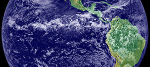 Intertropical Convergence Zone - The thunderstorms of the Intertropical Convergence Zone form a line across the eastern Pacific Ocean