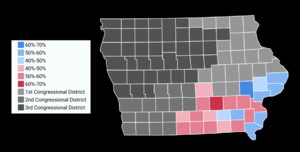 Dave Loebsack - Map showing the results of the 2016 election in Iowa's Second congressional district by County