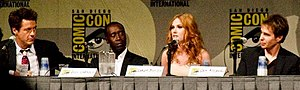 Iron Man 2 - Iron Man 2 cast members at Comic Con 2009. Robert Downey Jr., Don Cheadle, Scarlett Johansson and Sam Rockwell.