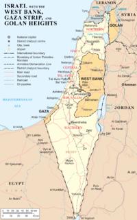 Mapa político de Israel. Resaltados en naranja los territorios disputados de la Franja de Gaza, Judea y Samaria (West Bank) y los Altos del Golán.