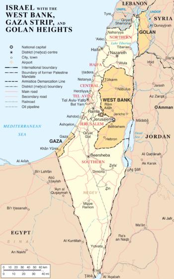 Map of Israel, the Palestinian territories (We...