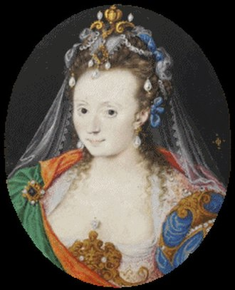 English rose (epithet) - Portrait of woman, in festive masque costume, produced in the latter years of Sir Walter Raleigh