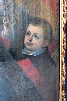Particolare del ritratto del giovane Carlo Borromeo con la madre Margherita Medici di Marignano, Palazzo Borromeo, Isola Bella.