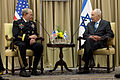 Israel President Shimon Peres, right, meets with Chairman of the Joint Chiefs of Staff Gen. Martin E. Dempsey in Jerusalem, Israel, on Oct 121029-D-V0565-009.jpg