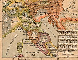 Northern Italy in 1803 (borders between Italy and France are not accurate)