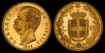 Umberto I depicted on a 100 lira gold coin (1891)