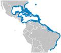 Jack-knifefish Equetus lanceolatus distribution map.png