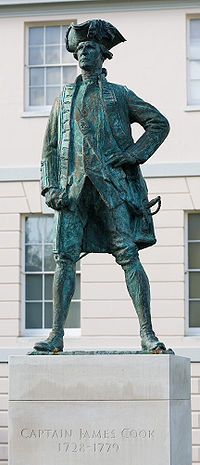 A statue of James Cook in Greenwich, London, England.