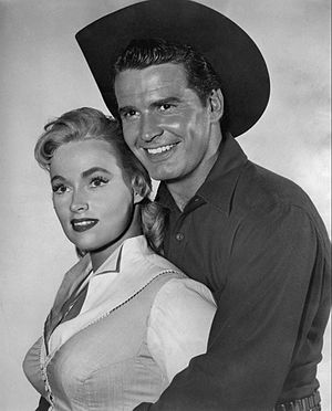 Karen Steele - Steele and James Garner in Maverick, 1957.
