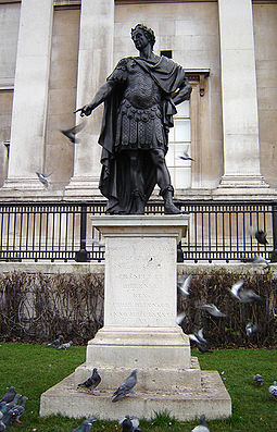 1686 statue of James II by Peter Van Dievoet in Trafalgar Square, London James II statue 1.jpg