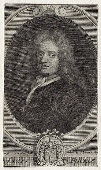 James Puckle - Line engraving by George Vertue after John Closterman, published in 1713