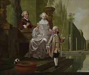Portret van Cunera van Rijckevorsel (1722-1782), Isaac Hubert (1725-1798) en Isaac Hubert jr (1756-1839)