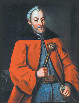 Żupan - Polish magnate Jan Zamoyski (1542-1605) dressed in a crimson delia over a blue silk żupan, and tied with a pas kontuszowy. The right hand holds a buława.