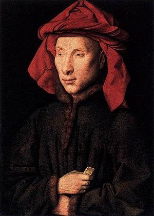 Arnolfini Portrait - Jan van Eyck, Portrait of Giovanni di Nicolao Arnolfini. Gemäldegalerie, Berlin