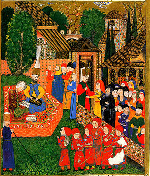 Forced conversion - Registration of boys for the devşirme. Ottoman miniature painting from the Süleymanname, 1558.