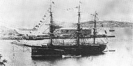 The British-built Ryujo was the flagship of the Imperial Japanese Navy until 1881. Japanese Ironclad warship Ryujo.jpg