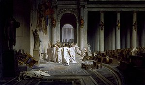 Augustus - The Death of Caesar, by Jean-Léon Gérôme (1867). On 15 March 44 BC, Octavius's adoptive father Julius Caesar was assassinated by a conspiracy led by Marcus Junius Brutus and Gaius Cassius Longinus. Walters Art Museum, Baltimore.
