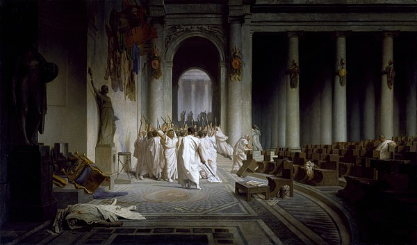 The Death of Caesar, by Jean-Leon Gerome (1867). On 15 March 44 BC, Octavius's adoptive father Julius Caesar was assassinated by a conspiracy led by Marcus Junius Brutus and Gaius Cassius Longinus. Walters Art Museum, Baltimore. Jean-Leon Gerome - The Death of Caesar - Walters 37884.jpg