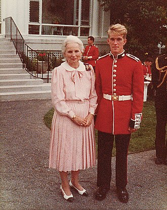 Jeanne Sauvé - Sauvé (left) at a garden party for the Ceremonial Guard and Governor General's Foot Guards at Rideau Hall, 1985