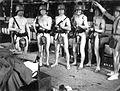 Jesting, military, helmet, spade, bayonet, nude photo Fortepan 9083.jpg