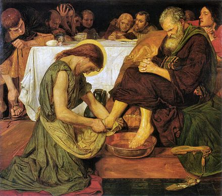 Jesus Washing Peter's Feet, painting by Ford Madox Brown (1821-1893) Jesus washing Peter's feet.jpg