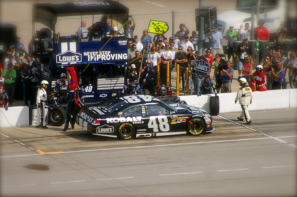 Jimmie Johnson on pit road