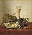 Johann Wilhelm Preyer - Stillleben mit Trauben, Austern, Haselnüssen und einem Sektglas auf einem drapierten Tisch.jpg