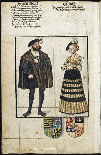 John, Hereditary Prince of Saxony - Johann of Saxony and Elisabeth of Hesse