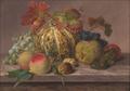 Johannes Ludvig Camradt - Opstilling med græskar, valnød og druer.png