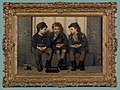 John George Brown (American, 1831-1913), oil on canvas of three boys seated on a stoop, titled The Monopolist, Pook & Pook, Inc..jpg