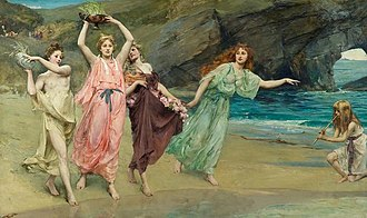 Adonia - The Gardens of Adonis (1888) by John Reinhard Weguelin depicts the casting of the gardens of Adonis into the sea at the end of the Adonia.