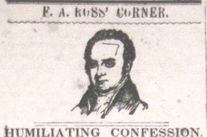 """Brownlow's Whig - Heading for """"F.A. Ross' Corner,"""" a series  in the Jonesborough Whig that attacked Presbyterian minister Frederick Augustus Ross"""