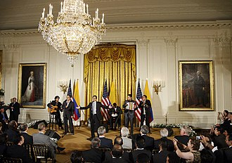 Jorge Celedón - Jorge Celedon, Jimmy Zambrano, and their performance group perform during the celebration of Colombian Independence Day Tuesday, 22 July 2008, in the East Room of the White House.