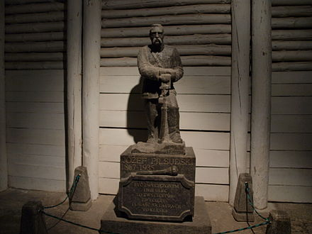 A statue of Jozef Pilsudski, made entirely from rock salt, in the Wieliczka Salt Mine. Josef Pilsudski made of salt.jpg