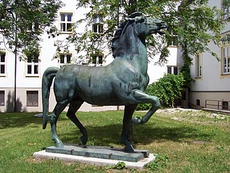 "Josef Thorak - Bronze statue ""Striding Horse"" in Ising on Chiemsee"
